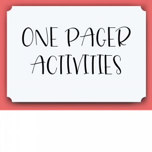 One Pager Activities